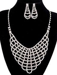 jóias de cobre prata moda longa queda totalmente strass jogo 5