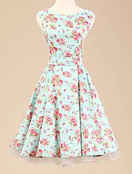 50s capestro delle donne del fiore dell'annata abito stampa rockabilly maniche (non includere sottoveste)