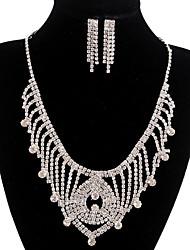 jóias de cobre prata moda longa queda totalmente strass jogo 2