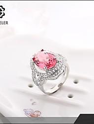 Sjeweler Girls Latest Platinum Plated Big Zircon Ring