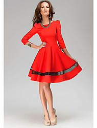 A.H.W  Women's Round Dresses , Cotton Sexy/Casual ¾ Sleeve