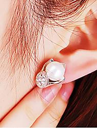 Brincos Curtos Moda Jóias de Luxo imitação de diamante Liga Prata Jóias Para 2pçs