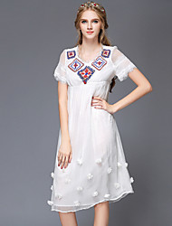 Ethnic Style Bead Embroidery Lace Women Large Plus Size Loose Vintage Casual/Party/Work/Short Sleeve Dress