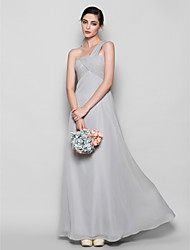 Lanting Bride® Floor-length Chiffon Bridesmaid Dress - Sheath / Column One Shoulder Plus Size / Petite with Criss Cross