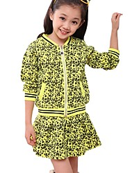 Kids Girls Space Cotton Black Dot Zipper Tops + Skirt Sport Suits Clothing Set (Cotton Blend)
