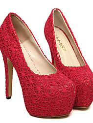 Women's Shoes Lace Stiletto Heel Heels Pumps/Heels Wedding/Party & Evening Black/Red/Beige