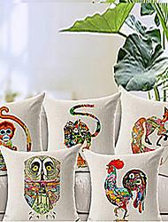 conjunto de 5 padrão animal do algodão / linho fronha decorativo