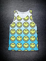 European Style Double Net Hole Vest Digital Printing 3D Sleeveless Smiling Face Harajuku Vest