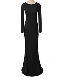 Women's Cut Out/Backless Sexy Party Casual Long Sleeve Straps Maxi Dress