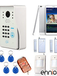 ENNIO WIFI Wireless Video Door Phone System with Home Alarm System Card Unlock Function & Remote Wireless Control