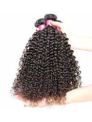 """3pcs / lot cabelo virgem brasileira encaracolado, brasileiro encaracolado Kinky # 1b 8 """"-34"""" cabelo humano não transformados"""