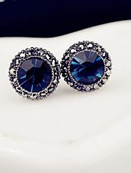 Stud Earrings Gemstone Rhinestone Alloy Fashion Luxury Jewelry Dark Blue Jewelry 2pcs