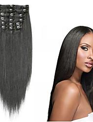 """70g (7pcs) / set 8 """"-16"""" clip brésilien extensions de cheveux clip en extensions de cheveux humains cheveux raides"""