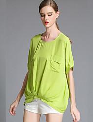 Summer Fashion Casual Women Loose Chiffon Pleat Large Plus Size Short Sleeve Blouse Shirt Tops