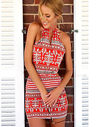 NUNEU   Women's Bodycon Round Sleeveless Dresses (Cotton)
