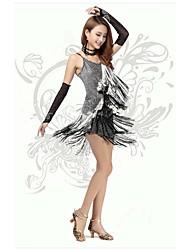 Latin Dance Dresses Women's Performance/Training Polyester/Milk Fiber Tassel(s) 1 Piece Black And Silver