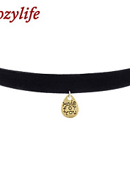 "Cozylife 3/8"" Girls Black Velvet Gothic Collar Vintage Choker Necklace with ""Made for You""Water Drop Pendant"