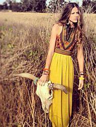 VOIN  Women's Print Multi-color Dresses , Print / Party Round Sleeveless