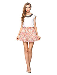 Women's Casual Chiffon Mini Skirts Tulle Skirt Pleated Juniors Skater Skirts Floral Print Sun Summer