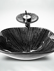 Contemporâneo 1.2*42*42*14 Quadrada material dissipador é Vidro TemperadoPia de Banheiro Torneira de Banheiro Anél de Instalação de
