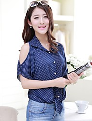 Women's Sexy/Beach/Casual/Cute/Party/Work/Plus Sizes Micro-elastic Short Sleeve Regular Blouse (Chiffon)
