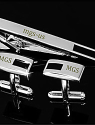 Personalized Gift Men's Engravable Silver Enamel Pattern Cufflinks and Tie Bar Clip Clasp(1 Set)