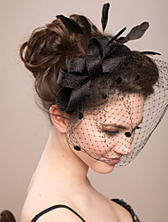 Feather Lace Veil Fascinator for Party Hair Jewelry