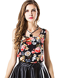 Women's Slim Floral Print Chiffon Blouse Summer Tank Top Halter Vest Bottoming Shirt Plus Size