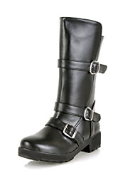 Calçados Femininos Courino Salto Baixo Arrendondado/Botas de Motocicleta Botas Escritório & Trabalho/Social/Casual Preto/Marrom