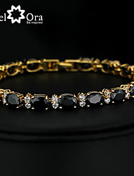 2015 New Brand JewelOra Fashion Women Black Ruby CZ Charms Classic Tennis Bracelets