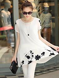 Women's White/Black Blouse , Round Neck Short Sleeve