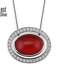 Woman's Necklace S925 Silver Plated Platinum Diamond Agate Oval Bead Necklace F124