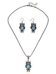 Juego de Joyas Estilo Simple Estilo lindo Joyería de Lujo La imitación de diamante Búho Azul Oscuro 1 Collar 1 Par de Pendientes ParaBoda