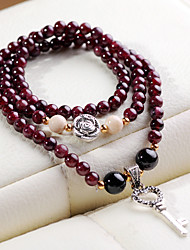 Women's Garnet Three Circle Strand Bracelet