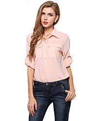 Women's Loose Plus Size Chiffon Blouse Summer Tops Work Shirt Bottoming Shirt