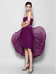 Asymmetrical Chiffon Bridesmaid Dress-Plus Size / Petite Sheath/Column Sweetheart