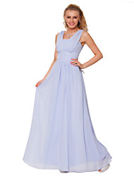 Formal Evening Dress - Lavender Sheath/Column Straps Floor-length Chiffon