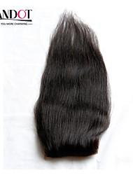 "8-20"" Indian Silk Base Closure Straight Size 4x4 Natural Black Free Middle 3 Part Virgin Human Hair Silk Lace Closure"