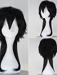 Touken Ranbu Tsu ru ma ru ku ni na ga Men's Medium Long Straight Synthetic Black Color Anime Cosplay Wig