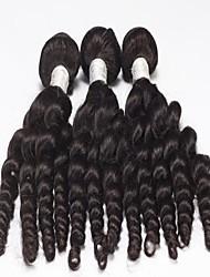 """3pcs lote 10 """"-26"""" cabelo peruano não transformados encaracolado cabelo humano natural preto tece"""