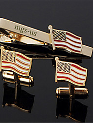 Personalized Gift Men's Engravable Golden Plain American USA Flag Pattern Cufflinks and Tie Bar Clip Clasp(1 Set)
