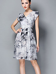 partido micro do vintage elástica manga curta vestido na altura do joelho da mulher (de seda)