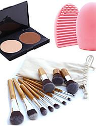 Maquillaje 11pc ceja cosmética fundación kabuki cepillos kits + 2 colores enfrentan en polvo de maquillaje paleta + herramienta de
