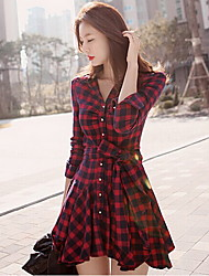 Women's Shirt Collar Dresses , Cotton Blend Sexy/Party Long Sleeve H.S.M