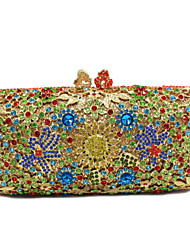 Ladies Flower Design Rhinestone Evening Cocktail Clutch Purse