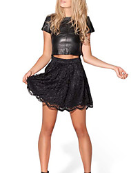 Women's Lace Micro-elastic Ruffle Hem Thin Mini Pleated Skirts