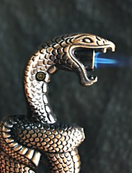 Cobra Snake Shape Metal Lighter Cigar Cigarette Butane Refillable Lighter (Random Color)