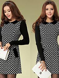 Women's Patchwork Black Dresses , Bodycon Shirt Collar Long Sleeve