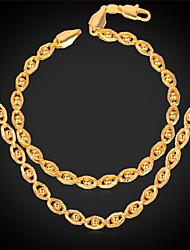 U7® Women Gold Jewelry 18K Real Gold Plated New Trendy Gold Little Beads Eyes Shaped Fancy Chain Necklace Bracelet Set