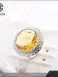 Ring Fashion Party Jewelry Cubic Zirconia / Platinum Plated Women Statement Rings 1pc,One Size Gold